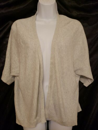 NWOT XXL Women/'s Short Sleeve Shine//Grey //Oatmeal Heather Cardigan Sweater Spark