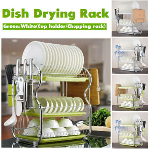 3-Tier-Chrome-Dish-Drying-Rack-Drainer-Cutlery-Cups-Holder-Drip-Kitchen-Storage