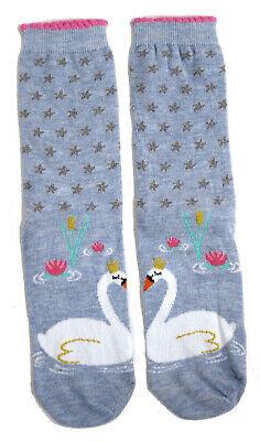 LADIES SWAN PRINCESS WATERLILIES BLUE SOCKS UK SIZE 4-8 EUR 37-42 US 6-10