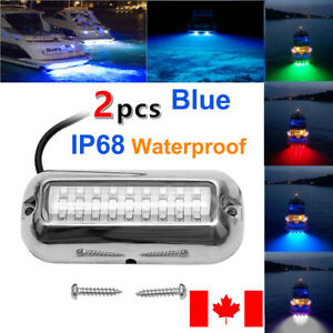 2x Blue 27LED Stainless Lights Underwater Pontoon Lamp Stainless IP68 50W CA