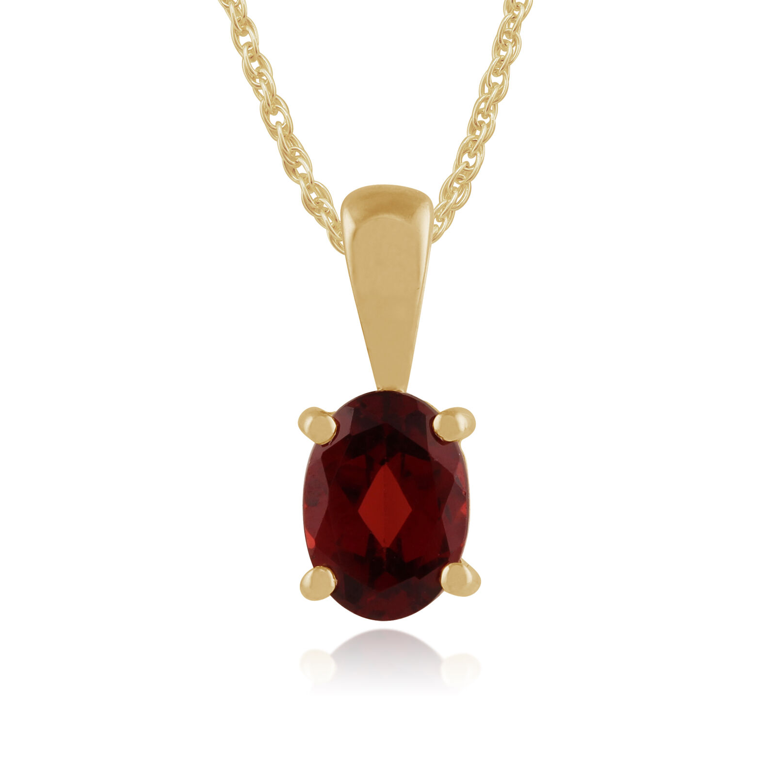 9ct Yellow gold 0.83ct Claw Set Mozambique Garnet Classic Oval Pendant on Chain