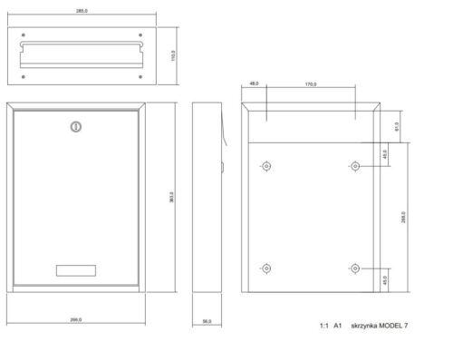 V2A Türbriefkasten Durchwurf C4 Mauerdurchwurf  Innentür Briefkasten Edelstahl