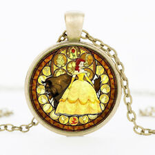 Beauty And The Beast Belle Princess Pendant Necklace Kids Jewelry Party Gift