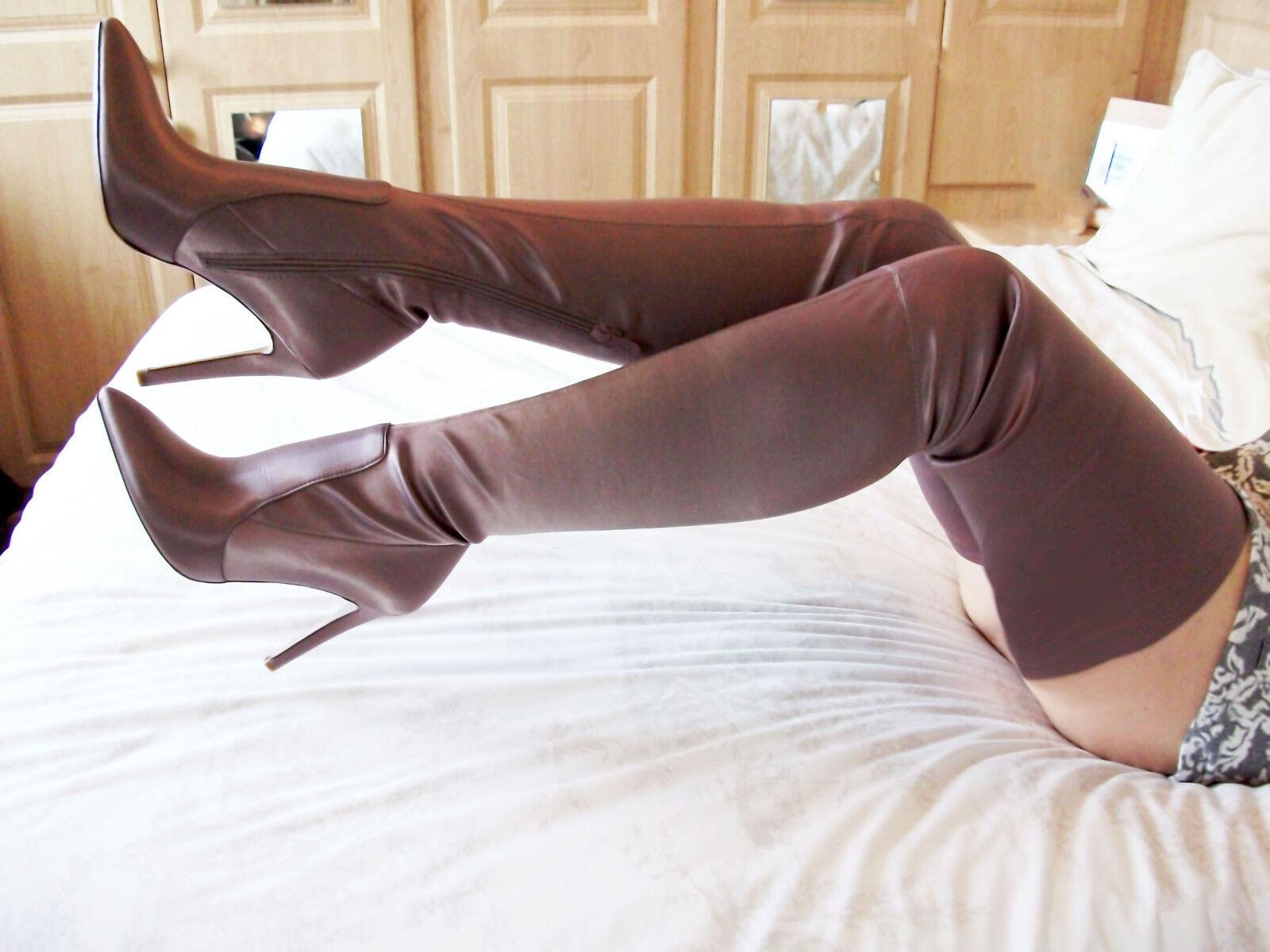 Raso stretch Nuovo con Scatola in finta pelle tacco alto a spillo Cavallo Coscia Stivali 5 38 7.5