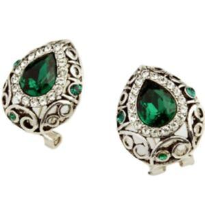 White-gold-finish-emerald-green-omega-back-earrings-quality-jewellery-UK-seller