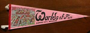 Vintage 70s Worlds of Fun Kansas City Missouri Pennant Souvenir Amusement Park