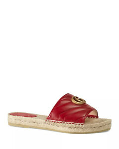 4d80fd820 Image is loading NIB-Gucci-Women-039-s-Leather-Espadrille-Sandals-