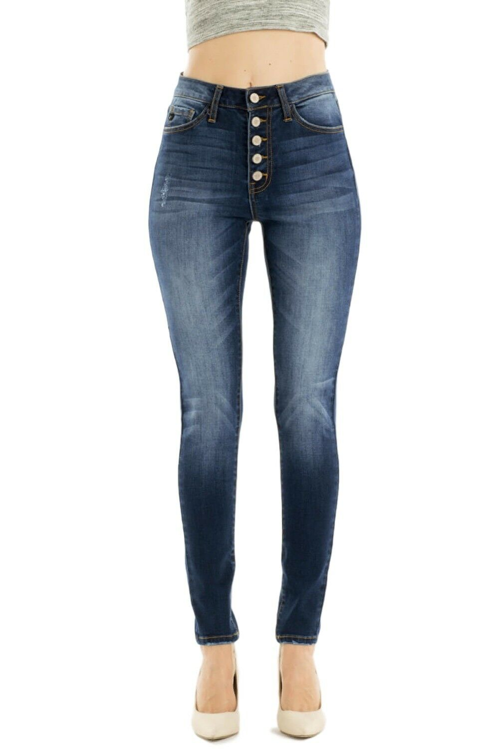 KanCan Jeans Leary-Charlene High Rise Dark Wash Button Fly Skinny Jeans KC7114D