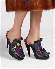 NIB $1,550+ FENDI Embroidered Waves Mule Floral Ruffled Leather Shoes Heel 39 -9