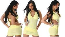 SeXy Jela London Neckholder Minikleid mit Strass und Raffungen in Gelb Gr M SeXy