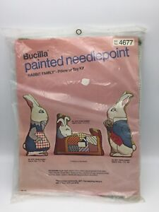 Vintage-Pillow-or-Toy-Needlepoint-Kit-PAPA-RABBIT-Bucilla-4677-Sealed
