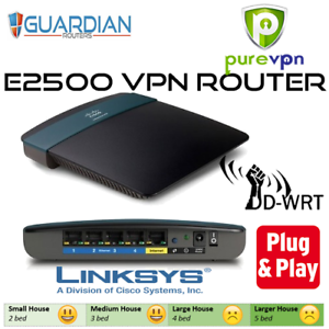 Details about Cisco Linksys E2500 N600 ddwrt Pure VPN Router Guardian plug  & play