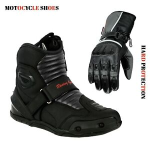 Motorcycle-Gear-Shop-Short-Ankle-Racing-Boots-amp-Motorbike-Leather-Gloves-Armour