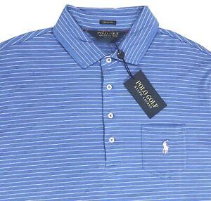 Men's POLO GOLF RALPH LAUREN Blue Stripe Stretch Lisle Shirt L ...