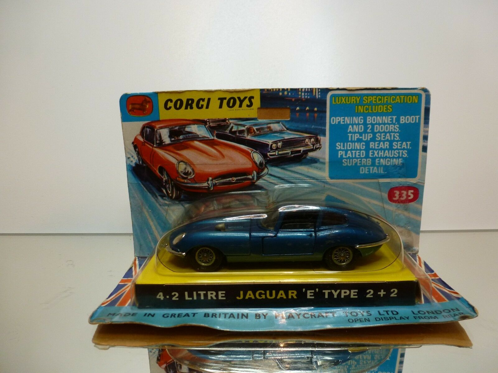 CORGI TOYS 335 4.2 LITRE JAGUAR E TYPE 2+2 - blueeE 1 43 - GOOD IN CARD BLISTER
