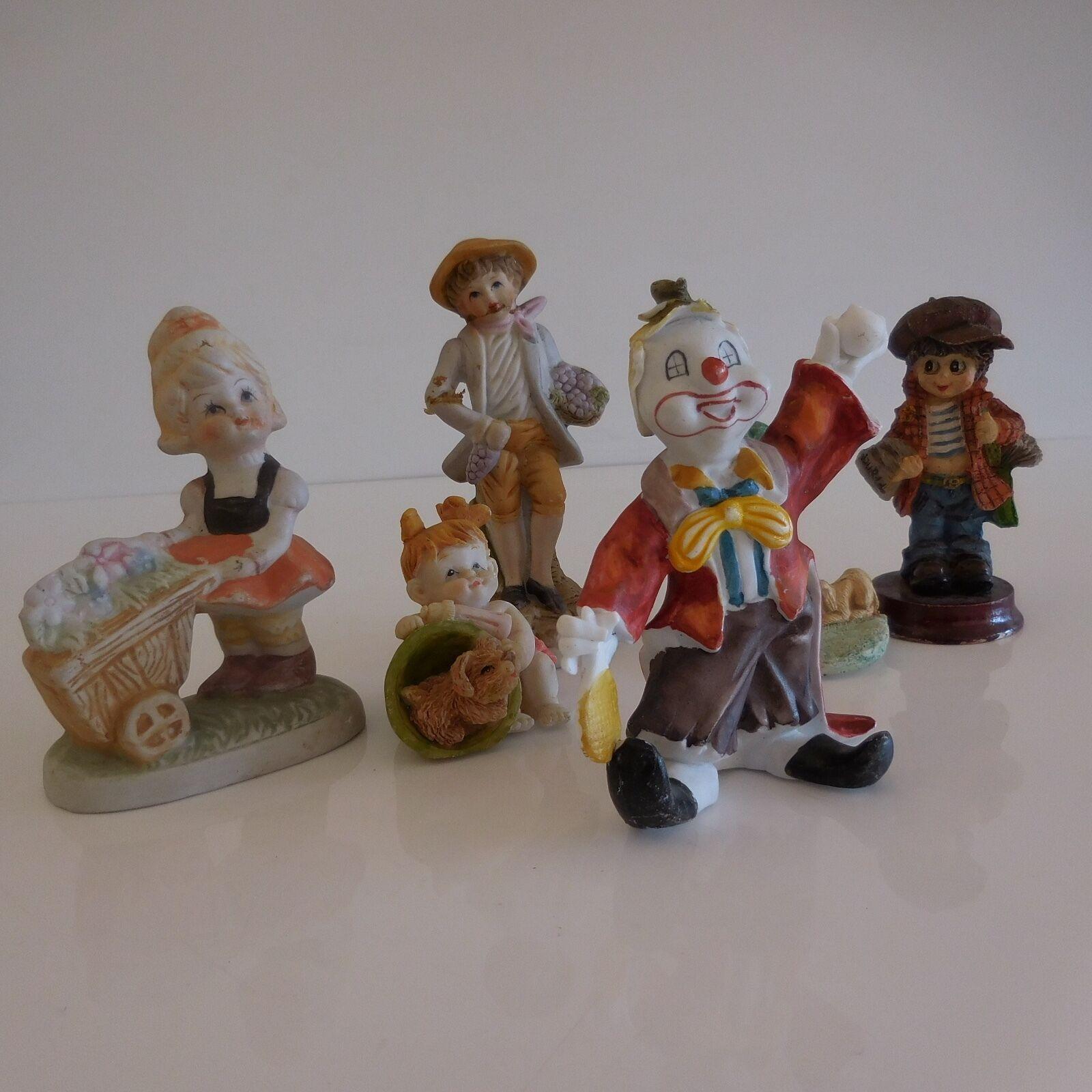 6 Figuras Personajes Cerámica Resina Vintage Art Decoración Diseño Xx Pn Francia