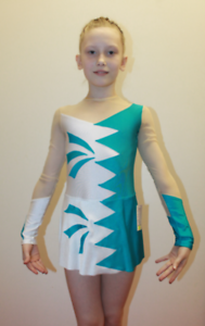 Studio White Shark 270-84 Girl Gymnastics Ice Scating Spandex Leotard Size L