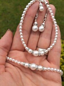 6f680e5c9deb8 Details about DESIGNER PEARL AND DIAMANTE BRIDAL JEWELRY SET CLASSIC  NECKLACE BRACELET EARRING
