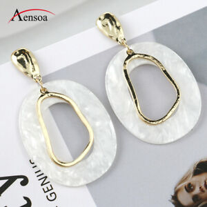Women-White-Oval-Acrylic-Alloy-Geometric-Statement-Pendant-Drop-Earrings-Jewelry