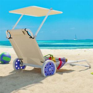 Strandliege mit rollen und dach  Sonnenliege Gartenliege Liegestuhl Beige Strandliege mit Rollen Dach ...