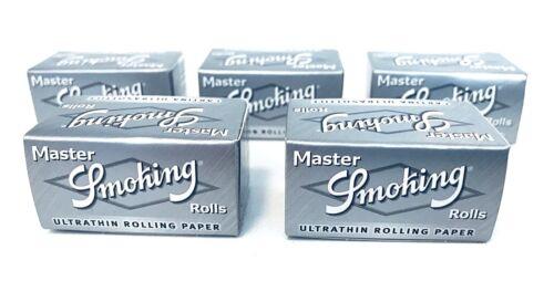 5x Smoking Master Rolls ultra slim Papers silver silber Rollen