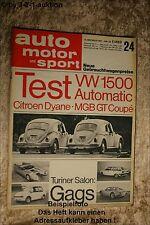 Auto Motor & Sport AMS 24/67 VW Käfer 1500 MGB GT Coupe Citroen Dyane