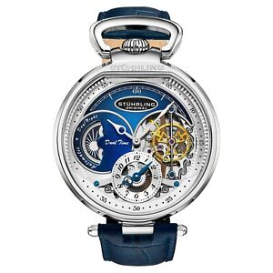 Stuhrling-Men-039-s-988-Automatic-Wind-Stainless-Steel-Blue-Skeleton-Leather-Watch