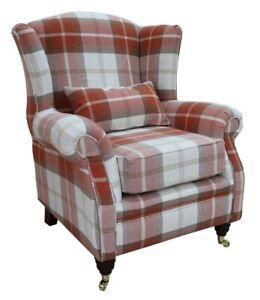 Ashley-Wing-Chair-Fireside-High-Back-Armchair-Balmoral-Burnt-Orange-Check-PS