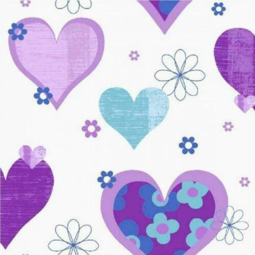 Arthouse Purple Blue Hearts Flowers Bright Colourful Childrens Wallpaper 533702