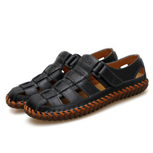3544fff7c7fd7 Image is loading Mens-Summer-Soft-Leather-Sandals-Outdoor-Beach-Shoes-