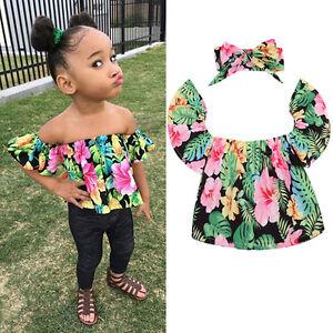 b08b3ef83012b2 0-5Year Summer Baby Girls Off Shoulder Tops Kids Floral T Shirt + ...