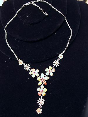 "Flower Power Enamel Necklace Orange Yellow Floral Red Rhinestone 20"" & 2"" Extend"