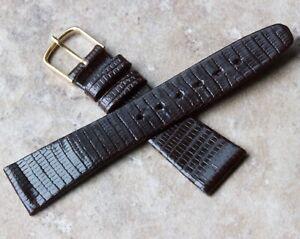 Short-Length-18mm-tapered-Genuine-Lizard-vintage-watch-strap-European-1960s-NOS