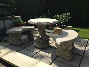 Image Is Loading New Garden Table And Benches Concrete Stone