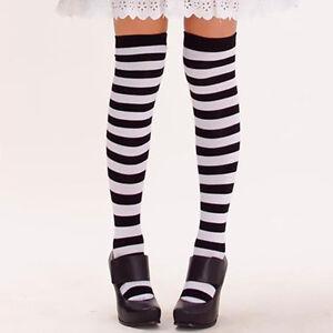 f8baf34cf 1Pair Black White Striped Thigh High Over The Knee Socks Stockings ...