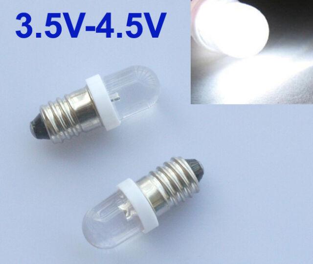 5 Stück LED Lampe Schraubsockel Linse Fahrrad Weiß Taschenlampe E10 3,5V - 4,5V
