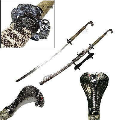 Collectable Handmade Samurai Sword Brass Snake and Goat Head Pendant Accessories