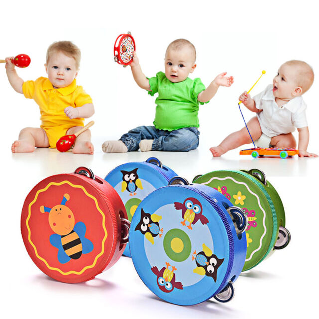 Baby Kids Wooden Musical Toys Drum Rattles Toy Tambourine Educational Toys N6T
