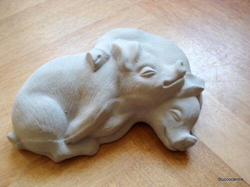 Stucco Gartenfigur schlafende Schweinchen aus Beton 150-500B sehr süß Schwein
