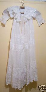 @£ Rare Et Superbe Robe De Bapteme Fin 19 ème Broderie Decor Floral Fait Main