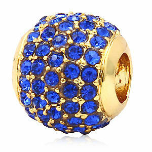 SAPHIR BLAU #3260 GESCHENK ANDANTE-STONES 24K GOLD PAVE BEAD AB KRISTALLE