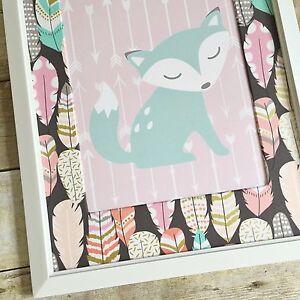 Details About Feather Nursery Art Pink Fox Print Boho Decor