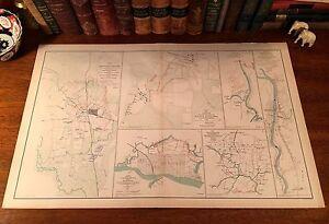 Large Original Antique CSA US Civil War Map BATTLE CORINTH