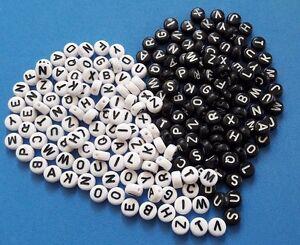 Details zu (2) 250 Perlen Kunststoff 7 mm Buchstaben Weiss Schwarz ABC  Basteln Kette