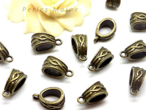 Lot de 10 bélières décorées style tibétain couleur bronze antique 14.5 x 7.5 mm