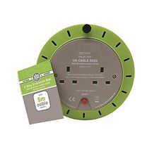 5M - 2 Way Heavy Duty Cable 5 Meter Extension Reel Lead Mains Socket 10 Amp