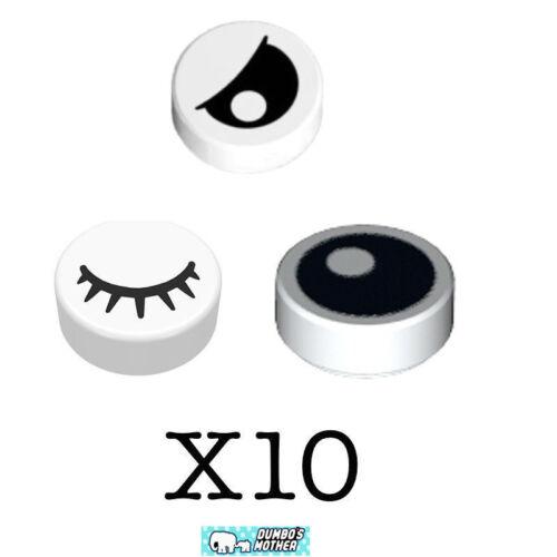 100/% LEGO 10 Sets of 1x1 Round Eye Tiles Winking Sleepy Black Eye White Pupil