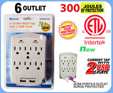 NEW 6 OUTLET SURGE PROTECTOR GROUNDING WALL TAP WITH 2 USB PORTS - 300 JOULES