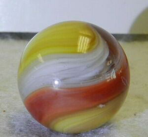 #10682m Large .73 Inches Akro Agate Red and Yellow Popeye Marble