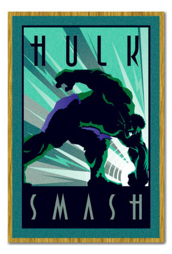 24 Inches x 36 Inches Framed Marvel Incredible Hulk Art Deco Style Poster New